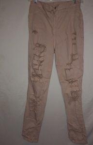 Encore Light Peach Distressed Jeans Sz 1X Plus